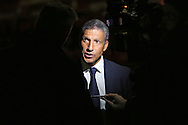 Chris Hughton being interviewed after the Capital One Cup match between Walsall and Brighton and Hove Albion at the Banks's Stadium, Walsall, England on 25 August 2015.