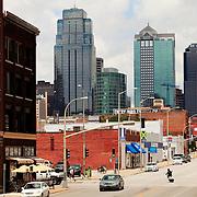 Kansas CIty Missouri skyline in daytime from Grand Avenue