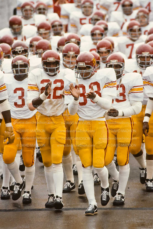 CORVALLIS, OR -  OCTOBER 3:  Marcus Allen #33 of the USC Trojans enters Parker Stadium with his teammates prior to an NCAA football game against the Oregon State University Beavers played on October 3, 1981 at Parker Stadium in Corvallis, Oregon. (Photo by David Madison/Getty Images) *** Local Caption *** Marcus Allen
