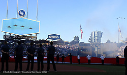 October 24, 2017 - Los Angeles, California, U.S. - Fly over prior to game one of a World Series baseball game between the Houston Astros and the Los Angeles Dodgers at Dodger Stadium on Tuesday, Oct. 24, 2017 in Los Angeles. (Photo by Keith Birmingham, Pasadena Star-News/SCNG) (Credit Image: © San Gabriel Valley Tribune via ZUMA Wire)
