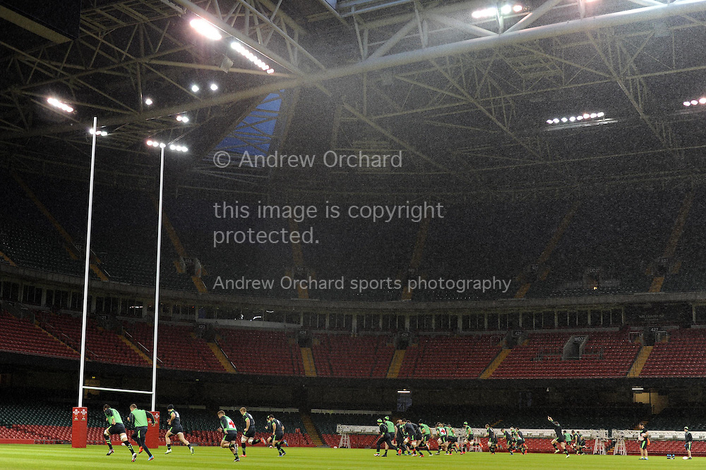 The Welsh team train on the new Hybrid pitch for the first time.Wales rugby team training at the Millennium Stadium in Cardiff, South Wales on Monday 3rd November 2014<br /> pic by Andrew Orchard, Andrew Orchard sports photography.