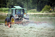 Female farm worker in tractor turning hay in summe
