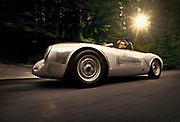 Car Photography from Automotive Photographer Randy Wells, Image of a 1958 silver Porsche 550A Spyder, Washington state, Pacific Northwest, model and property released