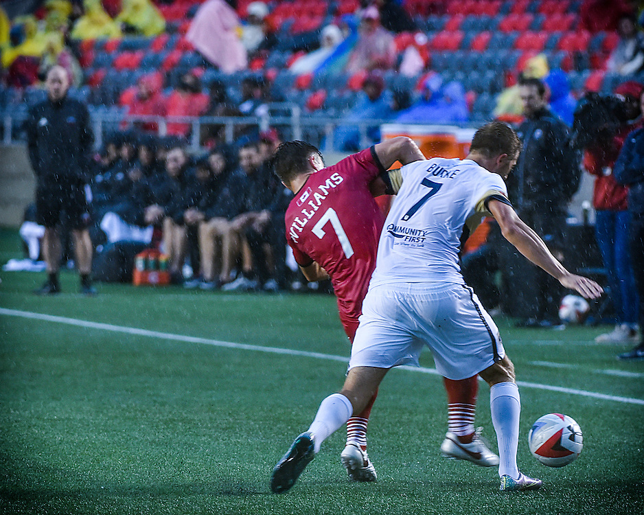 August 13, 2016: Ottawa Fury FC midfielder Ryan Williams (#7) during the NASL match between the Ottawa Fury FC and the Jacksonville Armada at TD Place Stadium in Ottawa, ON. Canada on Aug. 13, 2016.<br /> <br /> PHOTO: Steve Kingsman/Freestyle Photography