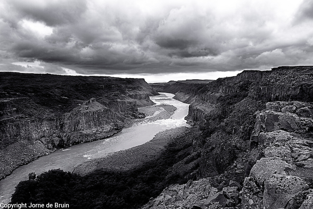 The 2,5 km long white river canyon near the Gullfoss Waterfall in Iceland.