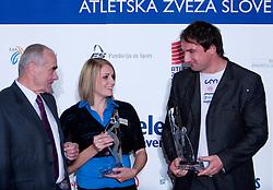 Martin Steiner, Sabina Veit and Primoz Kozmus  at Best Slovenian athlete of the year ceremony, on November 15, 2008 in Hotel Lev, Ljubljana, Slovenia. (Photo by Vid Ponikvar / Sportida)
