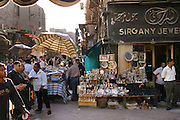 Crowded street in the market section of Islamic section of Cairo, Egypt.