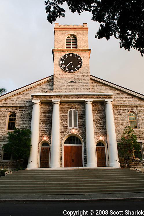 The front of the Kawaiaha'o Church in Honolulu, Hawaii.