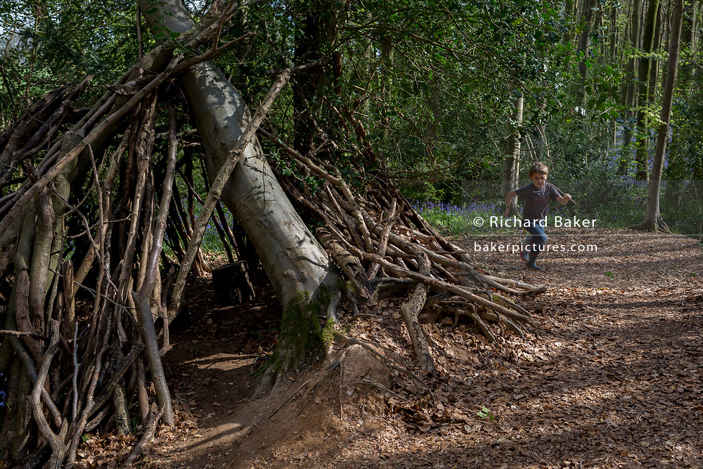 A seven year-old boy in woods plays on his own by a wooden den, on 23rd April 2017, in Wrington, North Somerset, England.