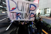 """A woman holds a sign saying """"Dump Trump"""" during a protest march by members of the Democratic Party Abroad organisation to mark the inauguration of President Donald Trump, Tokyo, Japan. Friday January 20th 2017 Around 400 people took apart in the march, which started in Hibiya Park at 6:30pm and finished in Roppongi just before 8pm, to honour the service given by President Obama and to protest against the illiberal policies expected of the new administration of President  Trump."""