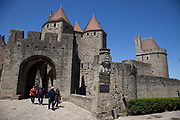 The Cité de Carcassonne is a medieval fortified walled town located in the French city of Carcassonne, in the department of Aude, in the region of Languedoc-Roussillon.
