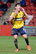Callum O'Dowda misses a chance during the Sky Bet League 2 match between Cheltenham Town and Oxford United at Whaddon Road, Cheltenham, England on 29 November 2014.