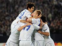 Fotball<br /> Tyskland<br /> 20.10.2010<br /> Foto: Witters/Digitalsport<br /> NORWAY ONLY<br /> <br /> Jubel 2:0 v.l. Atsuto Uchida, Jefferson Farfan, Torschuetze Raul, Ivan Rakitic, Jose Manuel Jurado (Schalke)<br /> Champions League, Gruppenphase, FC Schalke 04 - Hapoel Tel Aviv