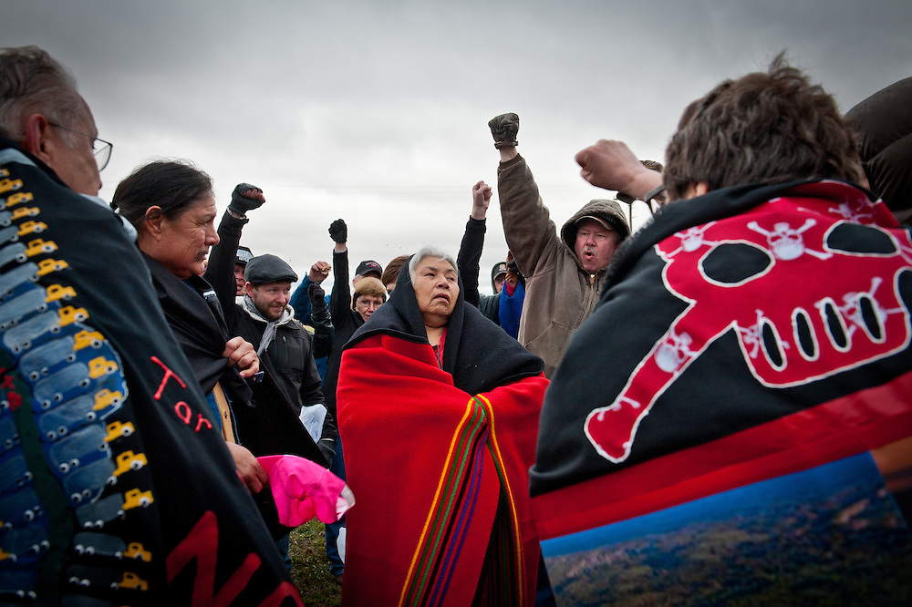 Native Americans from South Dakota reservations rally with pipeline opponents at Jim Tarnick's house in Fullerton, Nebraska, the evening before a State Department hearing on the Keystone XL Pipeline Project.