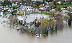 A church is surrounded by floodwaters on Monday, May 8, 2017 in Oka, Quebec, Canada., northwest of Montreal. Photo by Paul Chiasson /The Canadian Press/ABACAPRESS.COM