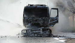 South Africa - Cape Town - 28 June 2020 - Truck Set alight on Wimbledon Road Blackheath by protestors from the Happy Valley township. Law Enforcement, SAPS had their hands full when hundreds of protestors burnt tyres and threw stones in Happy Valley. Picture: Brendan Magaar/African News Agency(ANA)