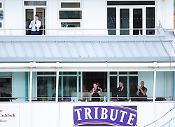 Somerset Chief Executive Guy Lavender (top), Daz Veness, Pete Sanderson and Director of cricket Matt Maynard applaud Marcus Trescothick as he is dismissed.  - Mandatory by-line: Alex Davidson/JMP - 12/07/2016 - CRICKET - Cooper Associates County Ground - Taunton, United Kingdom - Somerset v Middlesex - Day 3 - Specsavers County Championship Division One
