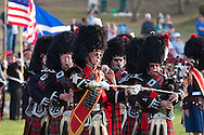 West Point, New York - The MacGregor Pipe Band perform at the 32nd annual West Point Military Tattoo at Trophy Point at the United States Military Academy on April 13, 2014.
