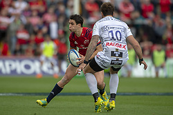 October 20, 2018 - Limerick, Ireland - Joey Carbery of Munster with the ball and Danny Cipriani of Gloucester during the Heineken Champions Cup match between Munster Rugby and Gloucester Rugby at Thomond Park in Limerick, Ireland on October 20, 2018  (Credit Image: © Andrew Surma/NurPhoto via ZUMA Press)
