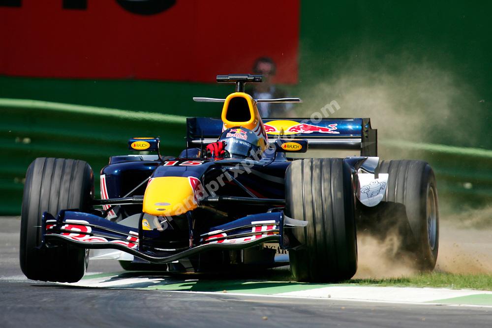 An aggresive Christian Klien (Red Bull-Ferrari) during practice for the 2006 San Marino Grand Prix at Imola. Photo: Grand Prix Photo