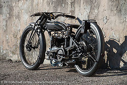 A 1919 V-Twin Mag Motorcycle with a Sturmey-Archer transmission built by Samuele Reali of Abnormal Cycles in Bernareggio, Italy. Photographed at Motor Bike Expo in Verona, Italy. Sunday January 21, 2018. Photography ©2018 Michael Lichter.