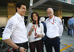 November 26, 2017 - Abu Dhabi, United Arab Emirates - Motorsports: FIA Formula One World Championship 2017, Grand Prix of Abu Dhabi, .Toto Wolff (AUT, Mercedes AMG Petronas Formula One Team), Tanja Bauer (GER, sky Sport), Dr. Dieter Zetsche (Chairman of the Board of Management of Daimler AG, Head of Mercedes-Benz Cars) (Credit Image: © Hoch Zwei via ZUMA Wire)