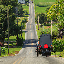Strasburg, PA - July 14, 2013: Amish buggies on a long, rural Lancaster County road in summer.