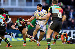 Alafoti Fa'osiliva of Bath Rugby takes on the Harlequins defence - Photo mandatory by-line: Patrick Khachfe/JMP - Mobile: 07966 386802 31/01/2015 - SPORT - RUGBY UNION - London - The Twickenham Stoop - Harlequins v Bath Rugby - LV= Cup