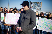 "Epicenter emloyees protesting against the blockade of the building supplies store named ""Epicenter"" in the city of Lviv, Ukraine. Many of them are afraid of loosing their work."