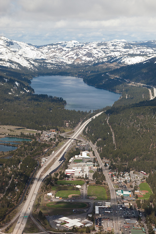 """""""Donner Lake and Truckee Aerial"""" - Aerial photograph from a plane above Donner Lake and Truckee, CA."""