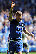 Cardiff city's Anthony Pilkington celebrates his 'goal' but  it is ruled out for handball. Skybet football league championship match, Cardiff city v Fulham at the Cardiff city stadium in Cardiff, South Wales on Saturday 8th August  2015.<br /> pic by Carl Robertson, Andrew Orchard sports photography.