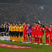 Besiktas's and Liverpool's players during the UEFA Europa League Round of 32 second leg soccer match Besiktas between Liverpool at Ataturk Olimpiyat stadium in Istanbul Turkey on Thursday February 26, 2015. Photo by Aykut AKICI/TURKPIX