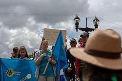 "May 4, 2019 - BogotÃ, Cundinamarca, Colombia - Pro life and Feminist pro choice groups have a brief verbal dispute during the rally...Under the slogan ''I choose the two lives'' around 500 people demonstrated for the maintenance of traditional family values, against abortion and the killing of social leaders in the country. Catholic and right wing political groups joined the call of the ''United for Life'' Platform (Unidos por la Vida) a widely spread organization in Colombia. Besides the abolition of abortion the organization demands the end of same sex marriage and ""gender ideology"". At the end a small group of radical feminists disrupt the congregation to demand fundamental women rights and the right of own choice. (Credit Image: © Eric CortéS/SOPA Images via ZUMA Wire)"