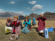 Women praying. Didar ceremony on the 25th of September, celebrating each year the coming of his Highness the Aga Khan at this date in 1998. In Roshorv village.