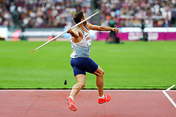 London, August 12 2017 . Ashley Bryant, Great Britain, in the men's decathlon javelin on day nine of the IAAF London 2017 world Championships at the London Stadium. © Paul Davey.
