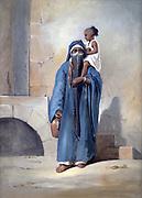 Veiled Egyptian Woman'.  Emile Prisse d'Avennes. Gouache. Mid-19th century.