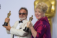 """88th Academy Awards press room.<br /> Best production design winners Colin Gibson and Lisa Thompson for the film """"Mad Max Fury Road."""""""