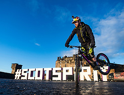 Stunt bike rider and Skye's very own spirit of Scotland Danny MacAskill, on Edinburgh Castle esplanade. VisitScotland has brought the spirit of Scotland to life with its biggest ever global campaign and social movement, with the #ScotSpirit activity forming the main focus and VisitScotland's bid to build the #ScotSpirit movement.