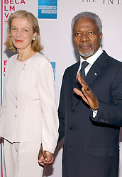 """File Photo - """"United Nations Secretary General Kofi Annan and his wife Nane arrive at the premiere of """"""""The Interpreter"""""""" held at the Ziegfled theatre for the opening night of the 2005 Tribeca Film Festival, on Tuesday April 19, 2005. Kofi Annan, the former UN secretary-general who won the Nobel Peace Prize for humanitarian work, has died aged 80, his aides say. Photo by Nicolas Khayat/ABACA."""""""