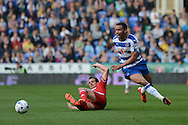 Middlesbrough striker Christian Stuani tackles Reading striker Hal Robson-Kanu during the Sky Bet Championship match between Reading and Middlesbrough at the Madejski Stadium, Reading, England on 3 October 2015. Photo by Alan Franklin.
