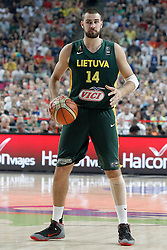 11.09.2014, City Arena, Barcelona, ESP, FIBA WM, USA vs Litauen, Halbfinale, im Bild Lithuania's Jonas Valanciunas // during FIBA Basketball World Cup Spain 2014 semi-final match between United States and Lithuania at the City Arena in Barcelona, Spain on 2014/09/11. EXPA Pictures © 2014, PhotoCredit: EXPA/ Alterphotos/ Acero<br /> <br /> *****ATTENTION - OUT of ESP, SUI*****
