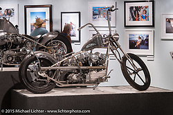 "Will Ramsey's custom Panhead in Michael Lichter's Motorcycles as Art annual exhibition titled ""The Naked Truth"" at the Buffalo Chip Gallery during the 75th Annual Sturgis Black Hills Motorcycle Rally.  SD, USA.  August 4, 2015.  Photography ©2015 Michael Lichter."