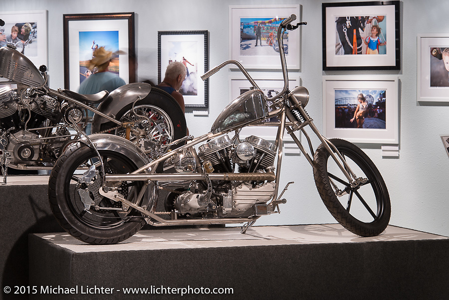 """Will Ramsey's custom Panhead in Michael Lichter's Motorcycles as Art annual exhibition titled """"The Naked Truth"""" at the Buffalo Chip Gallery during the 75th Annual Sturgis Black Hills Motorcycle Rally.  SD, USA.  August 4, 2015.  Photography ©2015 Michael Lichter."""