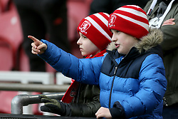 Young Middlesbrough fans at the FA Cup fourth round match at Riverside Stadium, Middlesbrough.