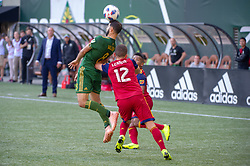 October 21, 2018 - Portland, OR, U.S. - PORTLAND, OR - OCTOBER 21, 2018: Real Salt Lake defender Brooks Lennon pushes Portland Timbers midfielder Diego Valeri during the Portland Timbers 3-0 victory over Real Salt lake on October 21, 2018, at Providence Park in Portland, Oregon. (Photo by Diego Diaz/Icon Sportswire) (Credit Image: © Diego Diaz/Icon SMI via ZUMA Press)