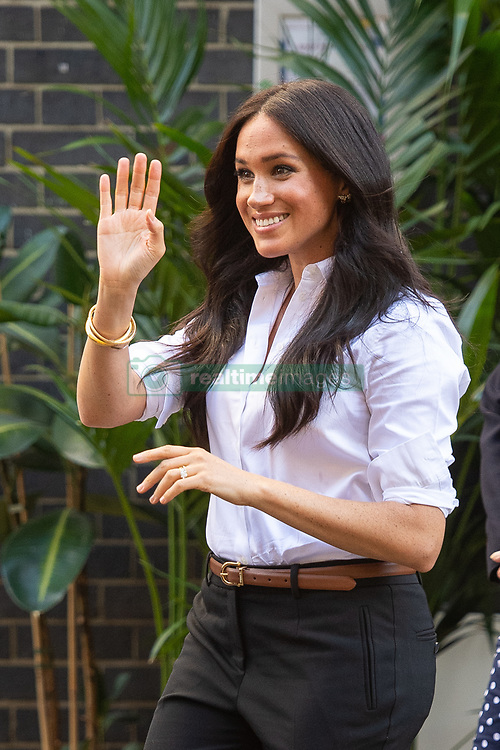 The Duchess of Sussex departs after launching the Smart Works capsule collection at John Lewis in Oxford Street, London. PA Photo. Picture date: Thursday September 12, 2019. The series of outfits that can be worn in the workplace have been created in aid of Smart Works, a charity which provides training and interview clothes to unemployed women in need, and has Meghan as its royal patron. See PA story ROYAL Meghan. Photo credit should read: Dominic Lipinski/PA Wire
