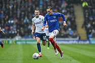 Portsmouth Midfielder, Ronan Curtis (11) gets away from Wycombe Wanderers Midfielder, Bryn Morris (17) during the EFL Sky Bet League 1 match between Portsmouth and Wycombe Wanderers at Fratton Park, Portsmouth, England on 22 September 2018.