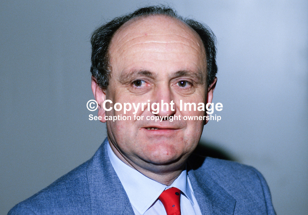 Gerry Collins, TD, Fianna Fail, Rep of Ireland, 19860401GC.<br /> <br /> Copyright Image from Victor Patterson, Belfast, UK<br /> <br /> t: +44 28 9066 1296 (from Rep of Ireland 048 9066 1296)<br /> m: +44 7802 353836<br /> e: victorpattersonbelfast@gmail.com<br /> <br /> www.images4media.com<br /> <br /> Please see my full Terms and Conditions of Use at https://www.images4media.com/p/terms-conditions - it is IMPORTANT that you familiarise yourself with them.<br /> <br /> Images used online incur an additional cost. This cost should be agreed in writing in advance. Online images must be visibly watermarked i.e. © Victor Patterson or that of the named photographer within the body of the image. The original metadata must not be deleted from images used online.<br /> <br /> This image is only available for the use of the download recipient i.e. television station, newspaper, magazine, book publisher, etc, and must not be passed on to a third party. It is also downloaded on condition that each and every usage is notified within 7 days to victorpattersonbelfast@gmail.com.<br /> <br /> The right of Victor Patterson (or the named photographer) to be identified as the author is asserted in accordance with The Copyright Designs And Patents Act (1988). All moral rights are asserted.
