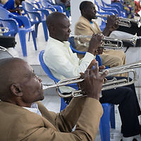 Musicians play during Sunday chapel service at the Heal Africa hospital in Goma, Congo.