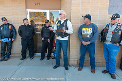 Wiley Cress talks to the group during a stop in Groton, SD for a flag raising ceremony during the USS South Dakota submarine flag relay across South Dakota. USA. Sunday October 8, 2017. Photography ©2017 Michael Lichter.